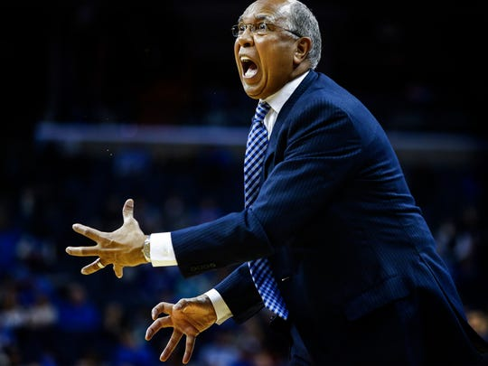 University of Memphis head coach Tubby Smith during second half action against SMU at the FedExForum.
