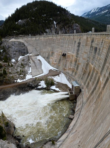 Gibson Dam captures water used for irrigation. It was kicking out water at 2000 cubic feet per second earlier this week.