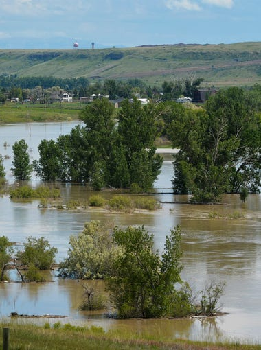 The Sun River and flooded fields seen from Vaughn Frontage Road west of Great Falls.