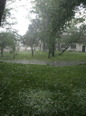 Leader-Courier columnist Laura Tennant snapped this photo of a hail storm in Dayton July 20.