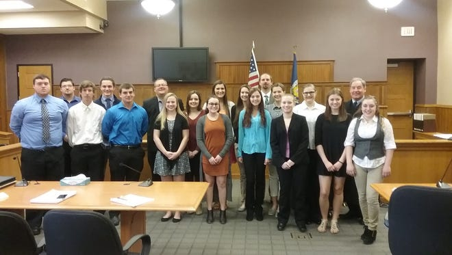 Algoma High School's Criminal Minds class at the Kewaunee County Courthouse, where it finished its semester with a mock murder trial.