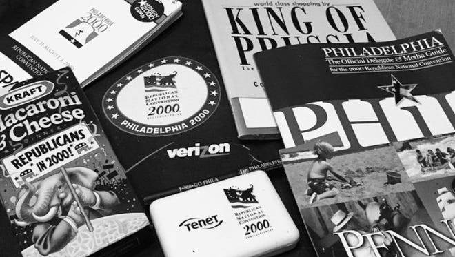 Swag from the 2000 Republican National Convention included a reporter's notebook, Philadelphia Magazine hidden behind a sticker advertising a suburb and a box of Kraft Macaroni & Cheese.