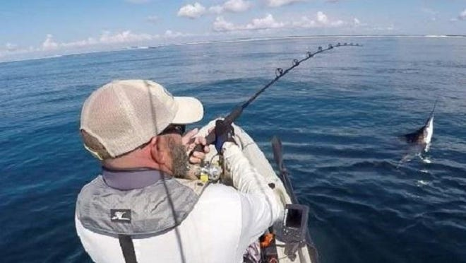 Matt Vann, owner of Sails and Tails Kayak Charters, hooked up with a nice sailfish earlier this week out of his kayak.