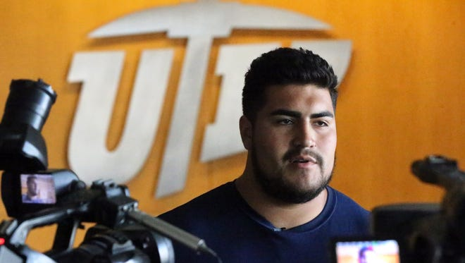 Will Hernandez, then a UTEP senior offensive lineman, speaks to the media about the team's newer members following a team workout at the Larry K. Durham Center on the UTEP campus on July 10, 2017. Hernandez was named to the 2017 Athlon Sports Preseason All-American third team. Hernandez is expected to be a first- or second-round pick in the 2018 NFL Draft.