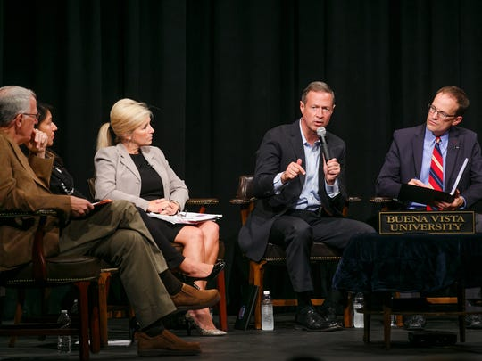 Panelists talk on stage with Former Governor of Maryland Martin O'Malley during #UniteIowa on Immigration at Buena Vista University on Saturday, August 29, 2015.