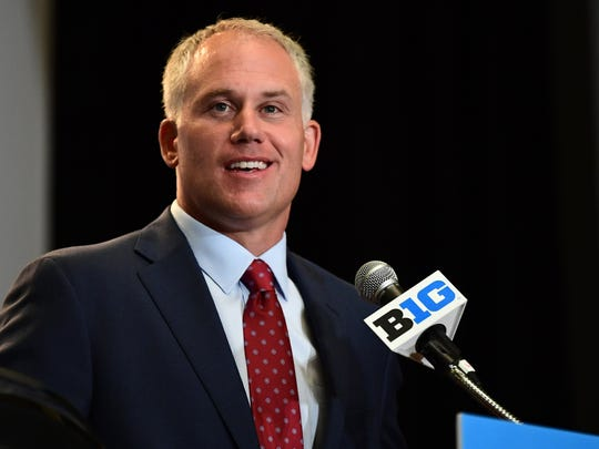 Jul 24, 2017; Chicago, IL, USA; Maryland head coach DJ Durkin addresses the media during the Big Ten football media day at Hyatt Regency McCormick Place. Mandatory Credit: Patrick Gorski-USA TODAY Sports
