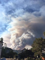 Smoke from the Holcomb Fire near Big Bear on June 19,