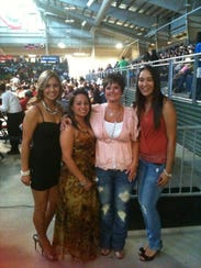 Cecilia Stanford is pictured with friends at a boxing