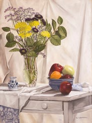 """White Table,"" pastel by Marlene Wiedenbaum, is included"