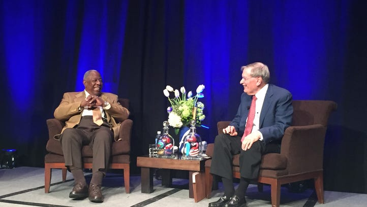 Hank Aaron (left) and Bed Selig share a laugh at the Hyatt Regency Indian Wells Resort &  Spa on Friday.