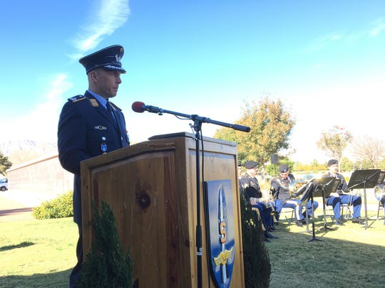 Lt. Col. Henri Neubert, deputy commander of the German air force at Fort Bliss, speaks during the annual Volkstrauertag, or German National Day of Mourning, ceremony at Fort Bliss National Cemetery.