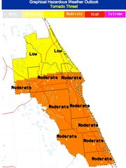 National Weather Service graphic shows tornado threat levels for Brevard County.