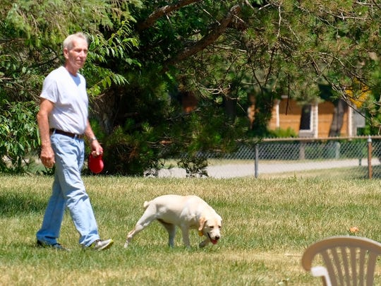 Vince Hanlon from Grand Ledge lets his 5-month-old yellow Lab Charlie run for the first time off leash at the DeWitt dog park in Padgett Park Friday, July 13, 2018.