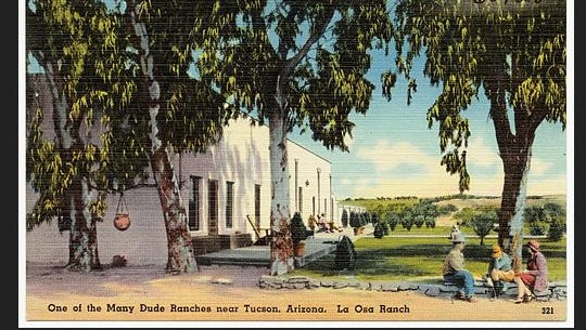 A postcard of La Osa Ranch in Tucson, circulated between 1935 and 1945. The ranch is now for sale for $1.4 million.