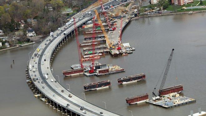 Aerial views of the Tappan Zee Bridge construction.