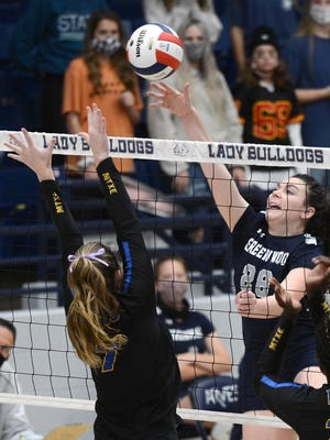 Greenwood's Allison Rose, right, hits a shot past Lakeside's Wesley Divers during the first set in a 5A state tournament semifinal match at Greenwood.