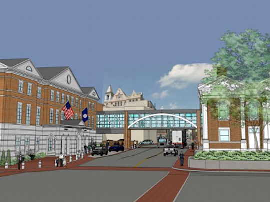 A rendering by Frazier Associates presented Monday proposed shared city-county courts in the historic 1901 court building on one side of North Augusta Street, and a new building opposite, connected by a glassed overhead walkway. The Cochrane building on West Beverley Street was proposed for shared juvenile and domestic relations courts.