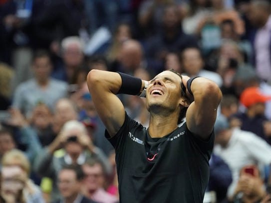 Rafael Nadal celebrates after beating Kevin Anderson