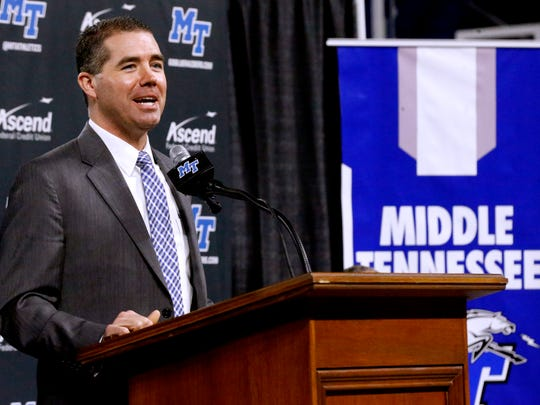 New MTSU coach Nick McDevitt speaks during a press conference March 27.