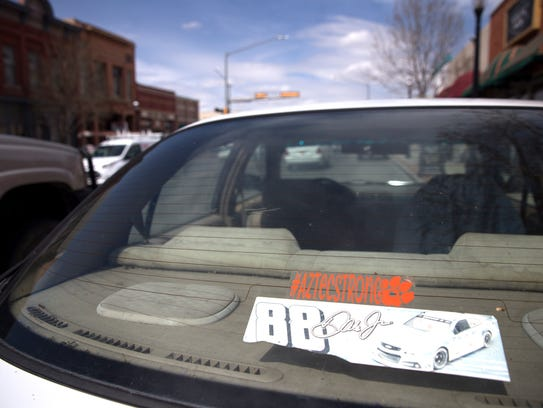An Aztec strong sticker is pictured on a car Thursday on Main Avenue in Aztec.
