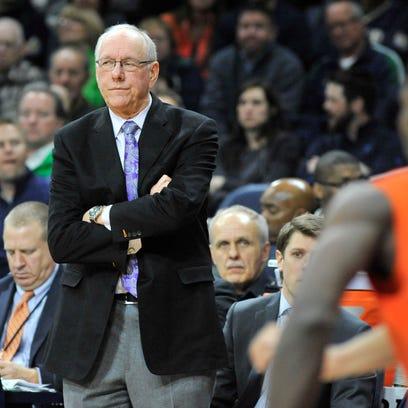 Syracuse coach Jim Boeheim watches his team during