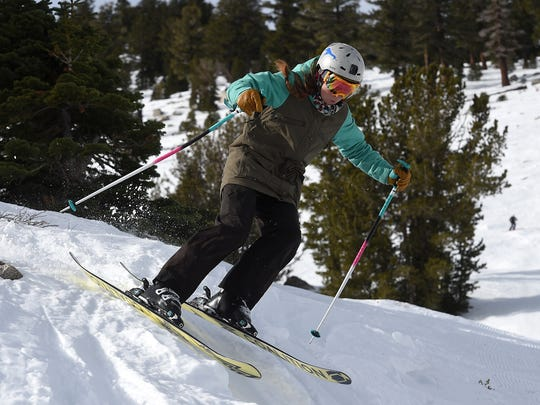 Violet Callahan navigates the terrain using a pair of Coalition Snow skis up at Mt. Rose Ski Tahoe on Dec. 8, 2015.