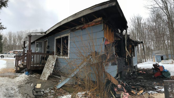 A family was displaced by a fire that ripped through a home on Mathie Road in the town of Wausau on Wednesday, March 7, 2018.