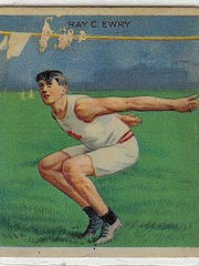 Ray Ewry, shown on a trading card, overcame the ravages of childhood polio to win eight Olympic gold medals.