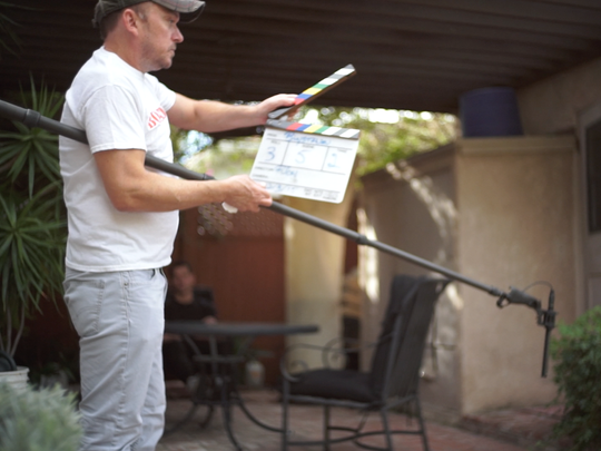 "Palm Springs filmmaker Ricky Reidling on the set of his show ""Boystown"" currently showing on OUTtv in Canada and Europe."