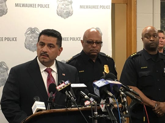 Milwaukee Police Chief Alfonso Morales speaks with the media about the release the body camera footage of the arrest of Bucks player Sterling Brown.