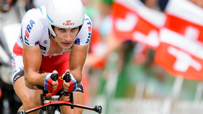 Simon Spilak from Slovenia in action during the 9th and last stage. Spilak won the Tour de Suisse on Sunday.