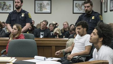 The three defendents, Amber Marie Tackett, Dominik Lou Charleston and Kobi Austin Taylor, listen to the proceedings of the pretrial examination held March 10 in Westland.
