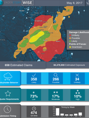 The dashboard that shows insurers auto-generated assessments after hail events through Understory's product, Weather Intelligence Storm Estimates (WISE).