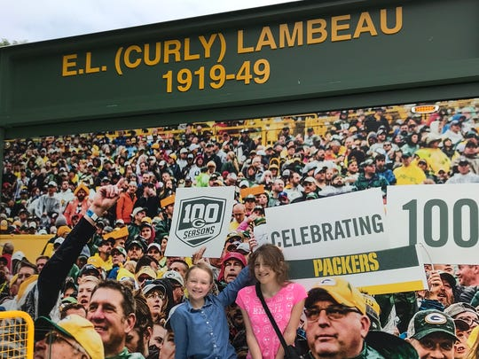 Kids can pretend to sit in the bleachers, among other things, at Lambeau Live.