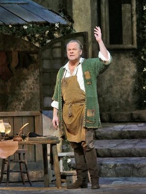 """In this photo released by the Metropolitan Opera, Michael Volle appears during a performance of """"Die Meistersinger von Nürnberg,"""" in New York."""
