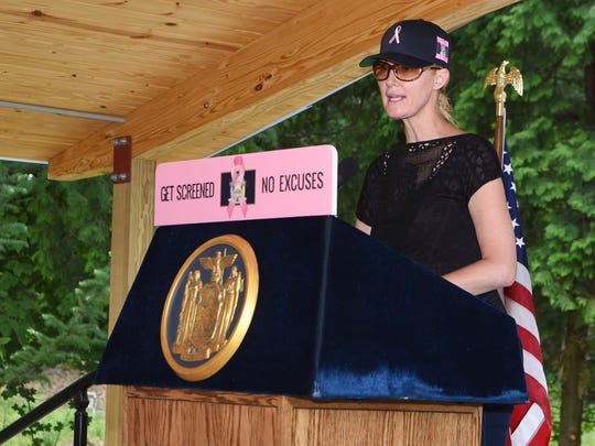 Sandra Lee, Gov. Andrew Cuomo's longtime girlfriend and a breast cancer survivor, speaks at a press conference in New Paltz after a breast cancer awareness motorcycle ride  from Long Island.