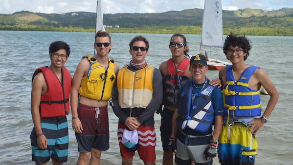 Five local sailors are U.S. Sailing Association-certified level one sailing instructors from left: Jeremy Del Castillo, Jordan Costable, Kevin Broome, Corey Santos, Craig Guth and Made Bradley.  Broome is the instructor and national faculty member of the U.S. Sailing Association.