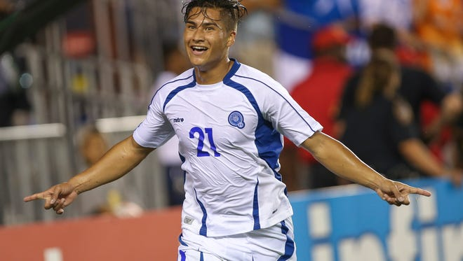 El Salvador midfielder Dustin Corea celebrates after scoring a goal during stoppage time against Costa Rica during CONCACAF Gold Cup group play at BBVA Compass Stadium.