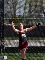 Jake Olson of Northern State competes in the men's hammer throw Friday at the Howard Wood Dakota Relays, May 6, 2016.