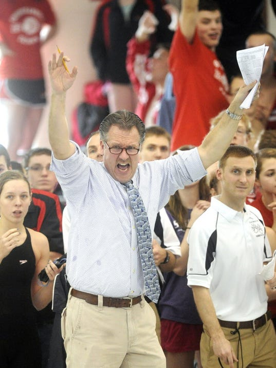 How many times will Dallastown coach Rich Howley strike this pose at the District 3 championships?