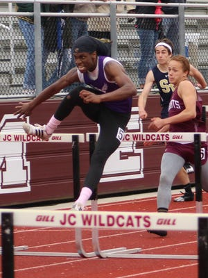 Norwich's KySawn Veale leads the 110-meter hurdles Thursday at Johnson City. Veale won in 16.30 seconds.