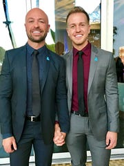 "CMT personality Cody Alan, left, and his fiance, Michael ""Trea"" Smith. The two met at a 2015 Carrie Underwood concert."