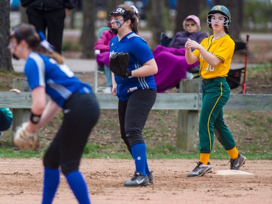 BFA's May Gratton, right, waits on third for Colchester's