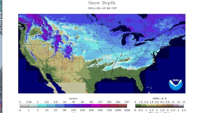 Snow covers at least part of every state in the USA except for Florida.