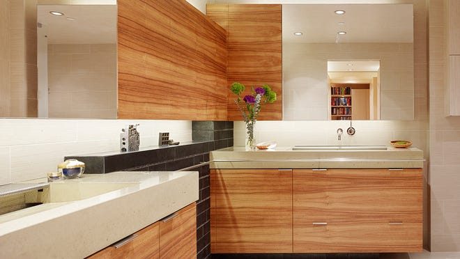 Although these countertops are designer-crafted, skilled DIY-types can make simpler versions themselves.