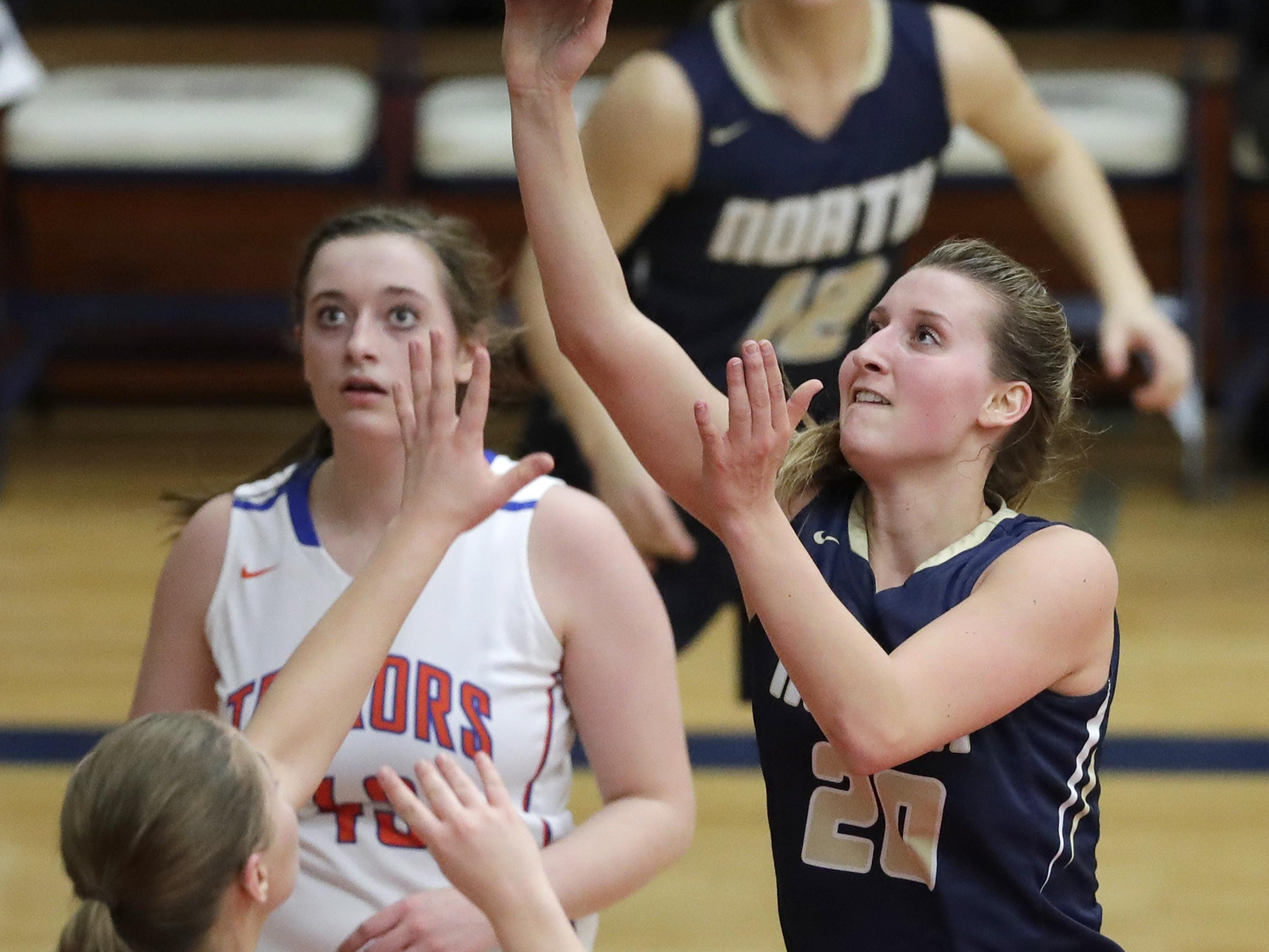 Appleton North's Sydney Levy scores against Appleton West High in a WIAA Division 1 sectional semifinal on March 2.
