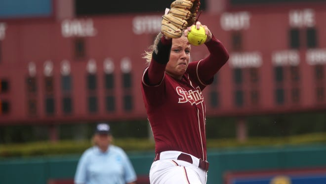 FSU's Meghan King pitches against Georgia at JoAnne Graf Field on Saturday, May 20, 2017.