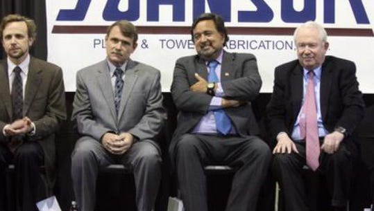 "William ""Bill"" Sanders, far right, is a founder of the Borderplex Realty Trust. He sat next to former New Mexico Gov. Bill Richardson during a 2010 announcement in Santa Teresa."