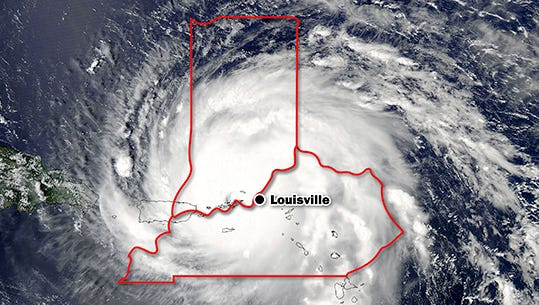 Hurricane Irma compared to Indiana and Kentucky as of about 5 p.m. Thursday.