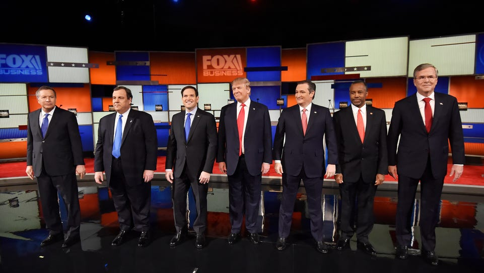 Republican presidential candidates, from left, Ohio